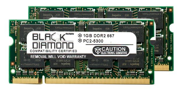 Picture of 2GB Kit (2x1GB) DDR2 667 (PC2-5300) SODIMM Memory 200-pin (2Rx8)