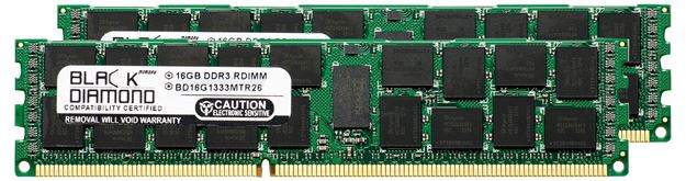 Picture of 32GB Kit (2x16GB) DDR3 1333 (PC3-10600) ECC Registered Memory 240-pin (2Rx4)