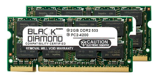 Picture of 4GB Kit (2x2GB) DDR2 533 (PC2-4200) SODIMM Memory 200-pin (2Rx8)