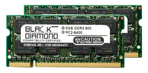 Picture of 4GB Kit (2x2GB) DDR2 800 (PC2-6400) SODIMM Memory 200-pin (2Rx8)