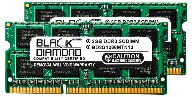 Picture of 4GB Kit(2x2GB) DDR3 1066 (PC3-8500) SODIMM Memory 204-pin (2Rx8)