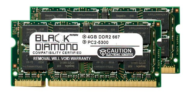 Picture of 8GB Kit (2x4GB) DDR2 667 (PC2-5300) SODIMM Memory 200-pin (2Rx8)